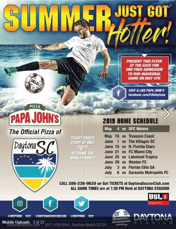 Daytona Soccer Club Summer Schedule