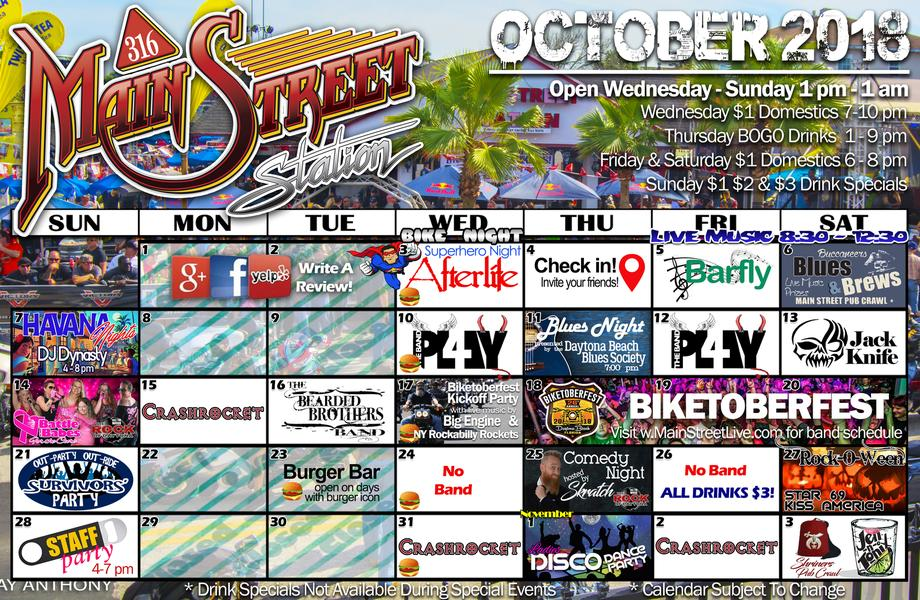 Main Street Station October Calendar